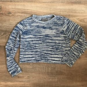 Cropped Blue and White Sweater